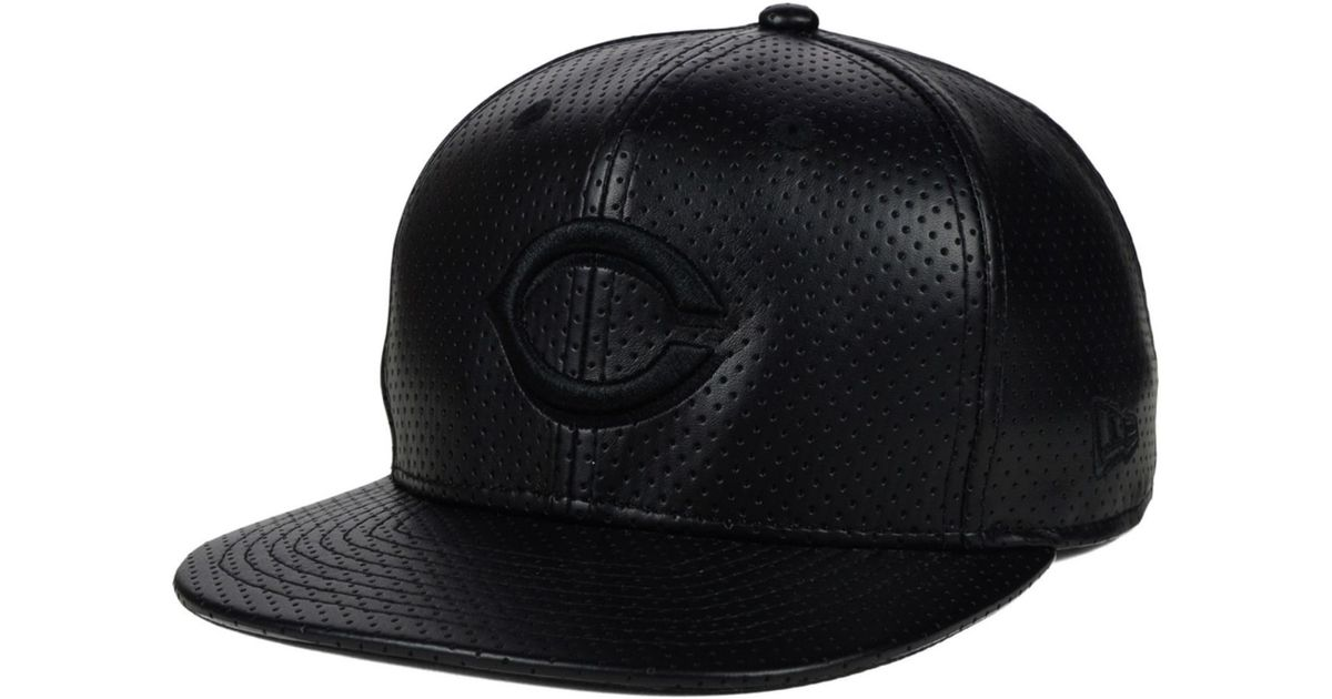 new concept 3372d c7aff ... buy lyst ktz cincinnati reds black on black faux leather perforated  9fifty snapback cap in black