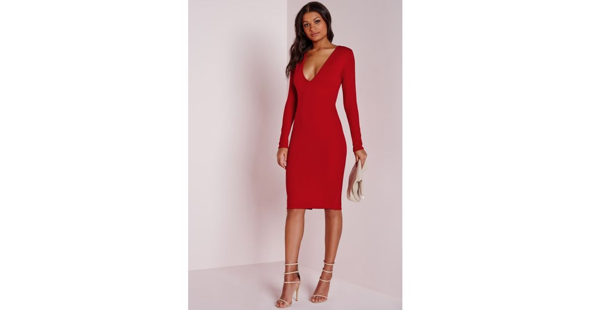 Lyst - Missguided Ponte Long Sleeve Plunge Midi Dress Red in Red 0097dae45