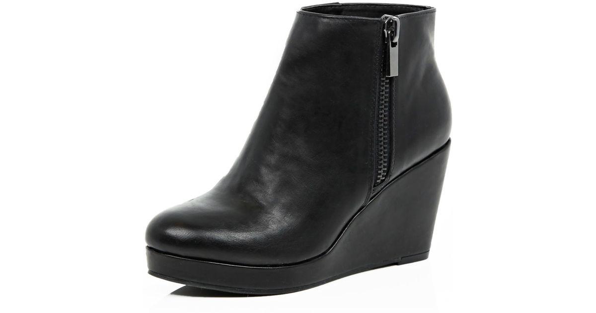 Black Ankle Boots Wedge Heel