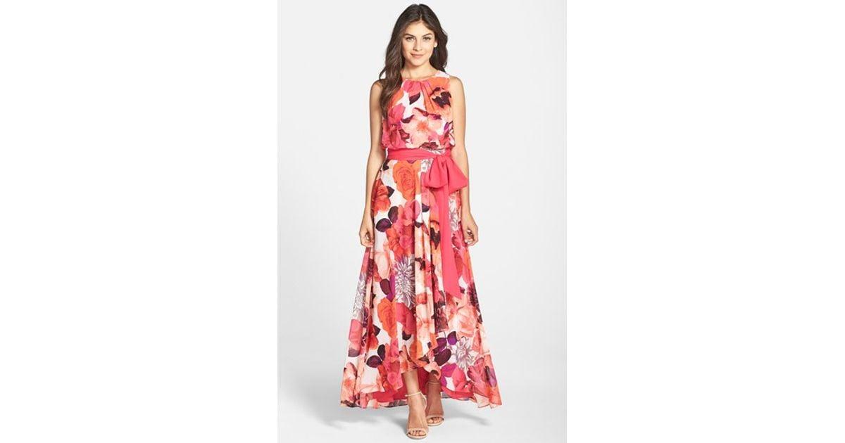 966fb5451e3fb Lyst - Eliza J Floral Print Chiffon Maxi Dress in Pink