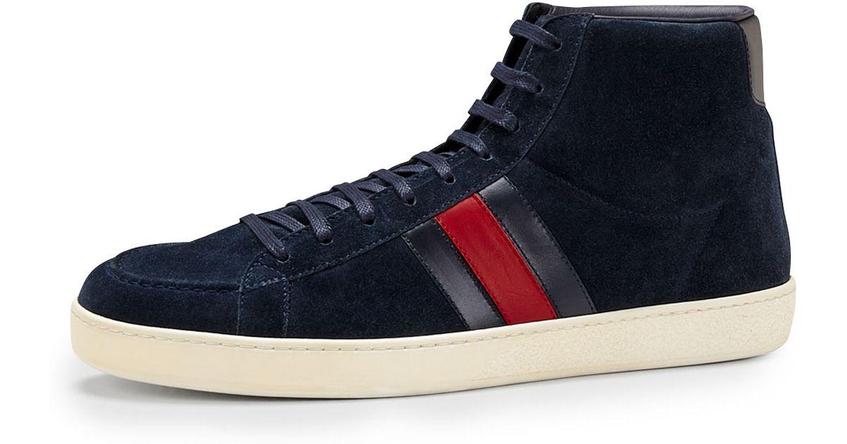 Gucci Suede Hightop Sneaker in Navy
