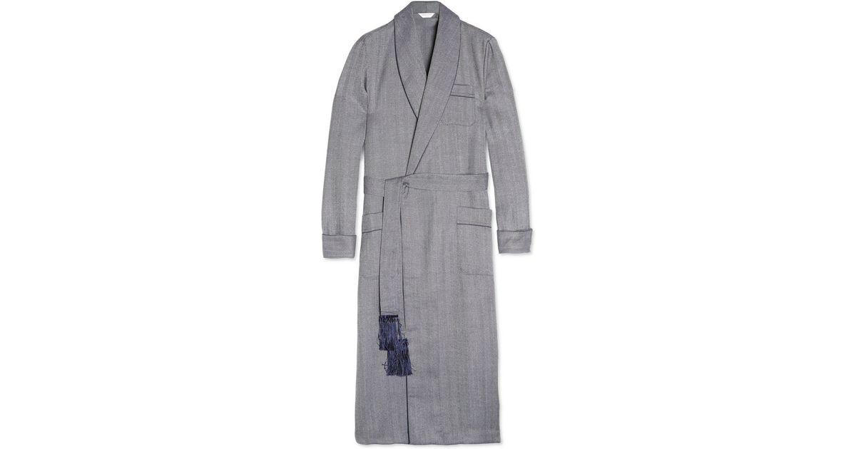 half price best place for big discount of 2019 Derek Rose Blue Lincoln Herringbone Wool Dressing Gown for men