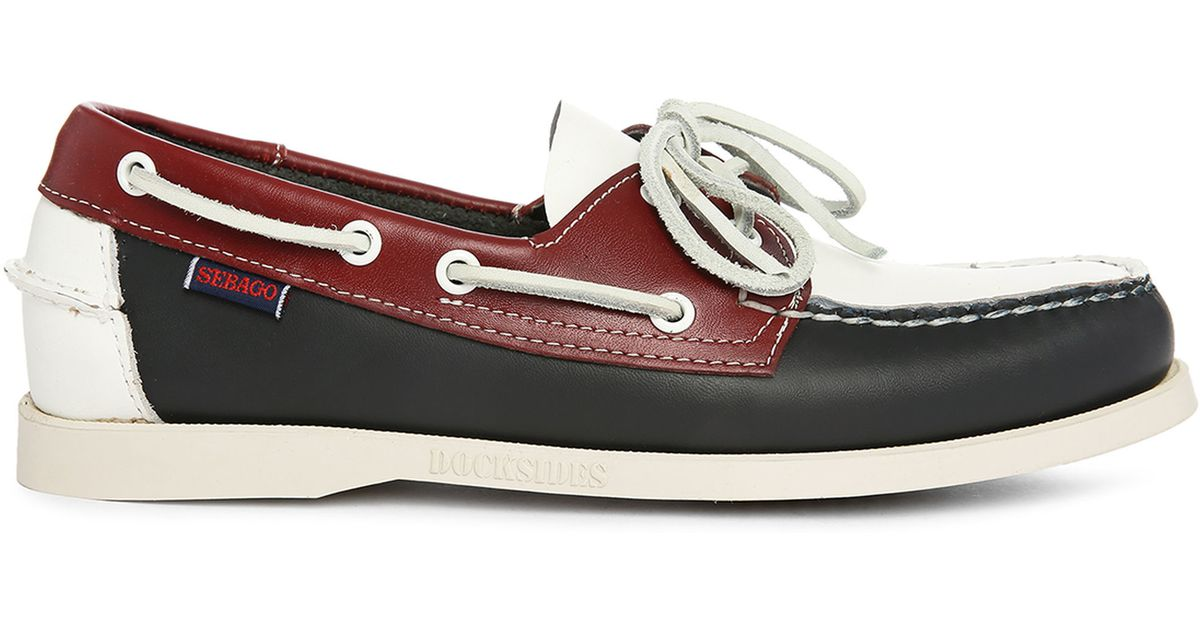 sebago navy white brown spinnaker three colour leather