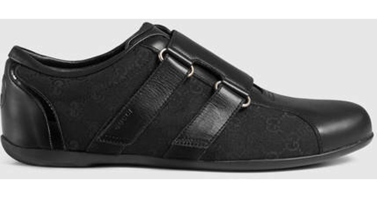 Gucci Black Leather Velcro Shoe for men