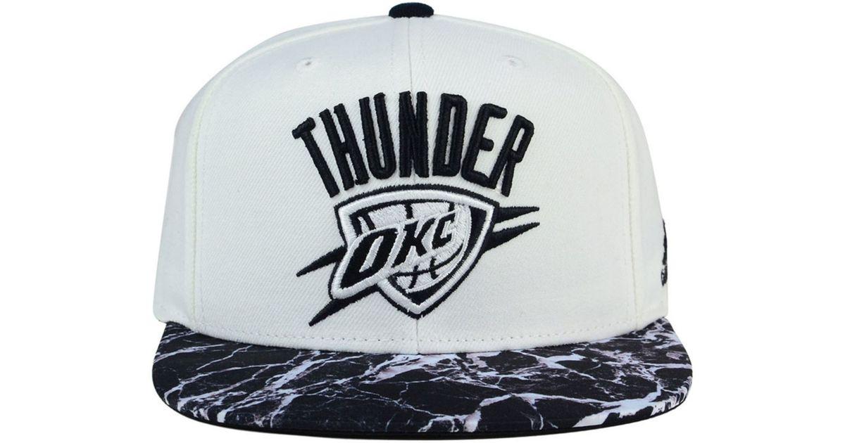 Adidas Black Oklahoma City Thunder White Marble Snapback Cap for men