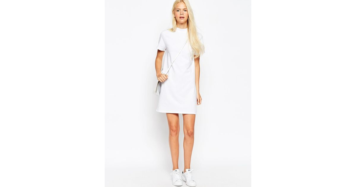 a85c0756de5c ASOS T-shirt Dress With High Neck in White - Lyst