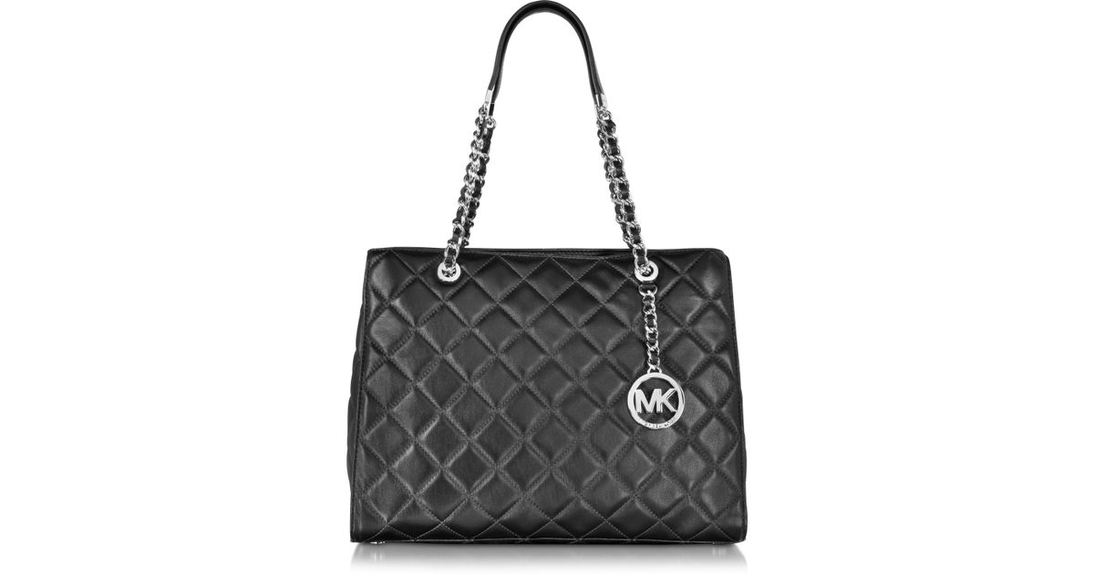 87ac5b5a76c4 Michael Kors Susannah Large Black Quilted Leather Tote Bag in Black - Lyst