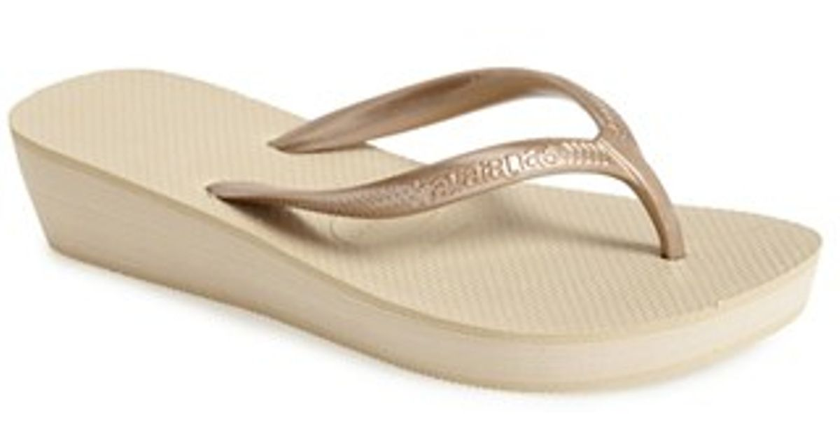ae083599260c7 Lyst - Havaianas  high Light  Wedge Flip Flop in Natural