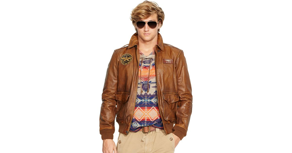1ee9e42e5 Polo Ralph Lauren Brown Leather Farrington A2 Jacket for men