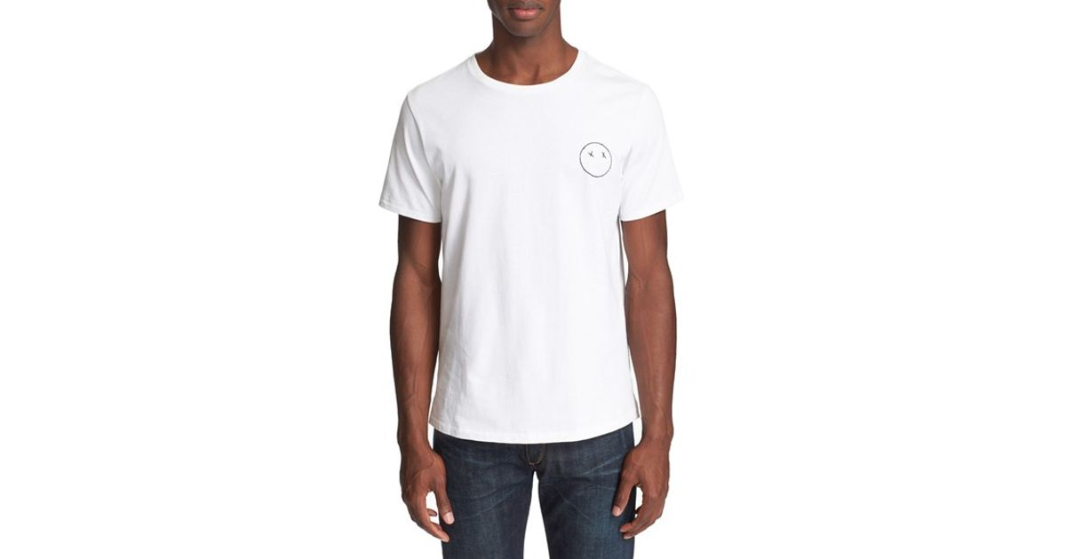 Rag bone 39 sour face 39 embroidered t shirt in white for for Rag and bone mens shirts sale