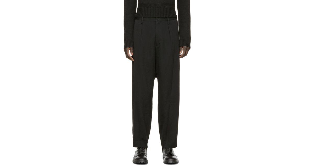 5e887f9fd6e Yohji Yamamoto Black Wool Suspender Pants in Black for Men - Lyst