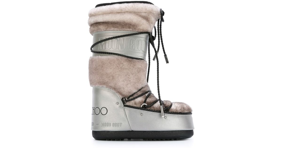 Jimmy Choo Lace-Up Shearling Snow Boots