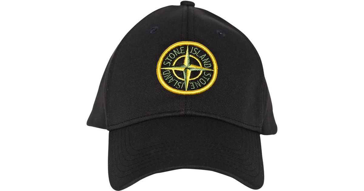 Lyst - Stone Island Logo Embroidered Softshell Baseball Hat in Black for Men 86a63db5539