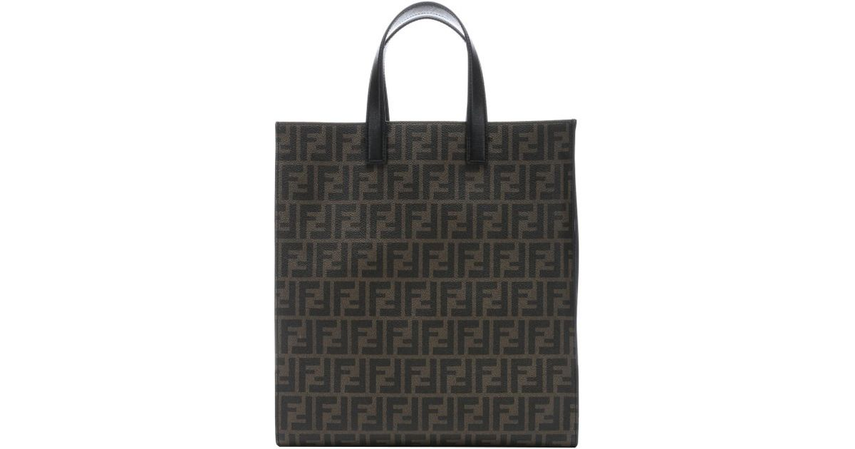 12b64243f21f Lyst - Fendi Tobacco Zucca Spalmati Canvas Large Shopping Tote in Brown for  Men