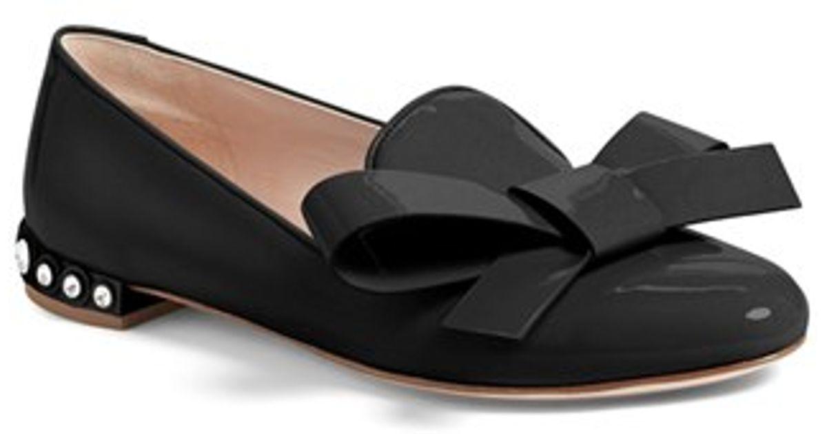 55bc16ef456ec Lyst - Miu Miu Jewel-Heeled Smoking Slippers in Black