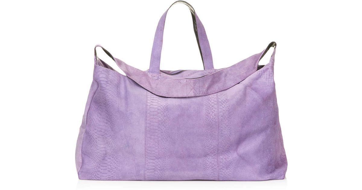 Topshop Suede Snake Embossed Luggage Bag in Purple | Lyst