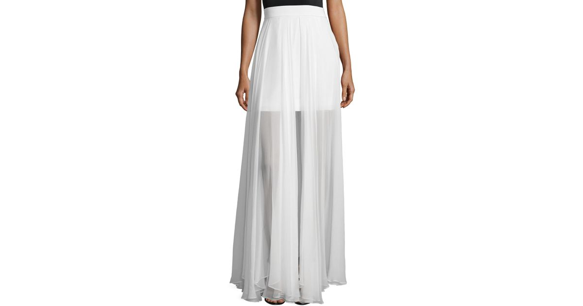 milly flowy silk maxi skirt w front slit in white save