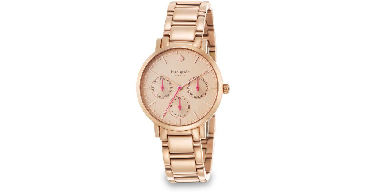 Kate Spade New York Pink Gramercy Grand Rose Goldtone Stainless Steel Chronograph Bracelet Watch