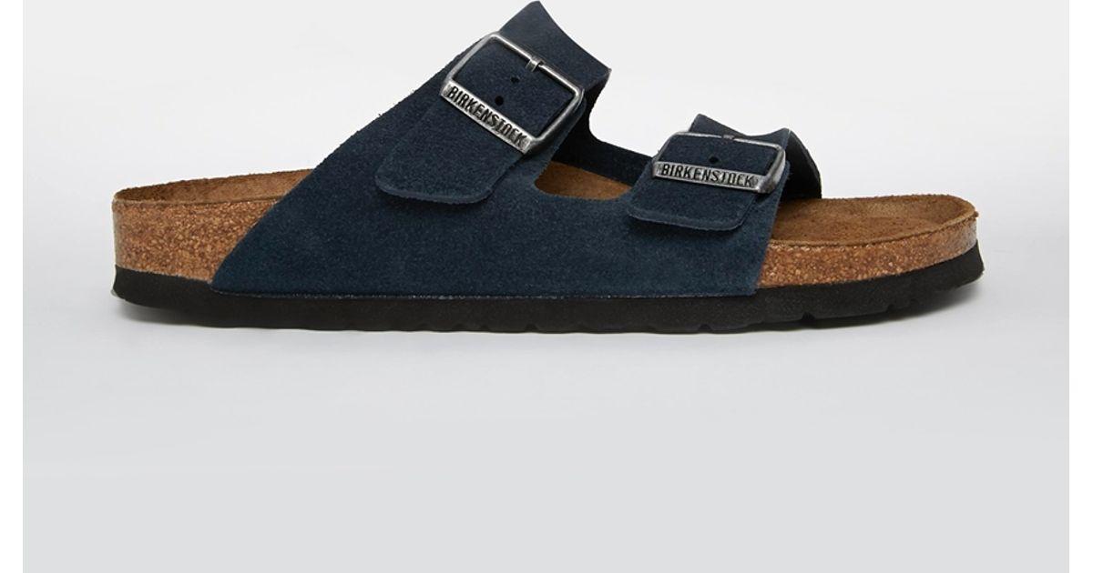 3eadbe7b195d Lyst - Birkenstock Arizona Navy Suede Leather Flat Sandals in Blue