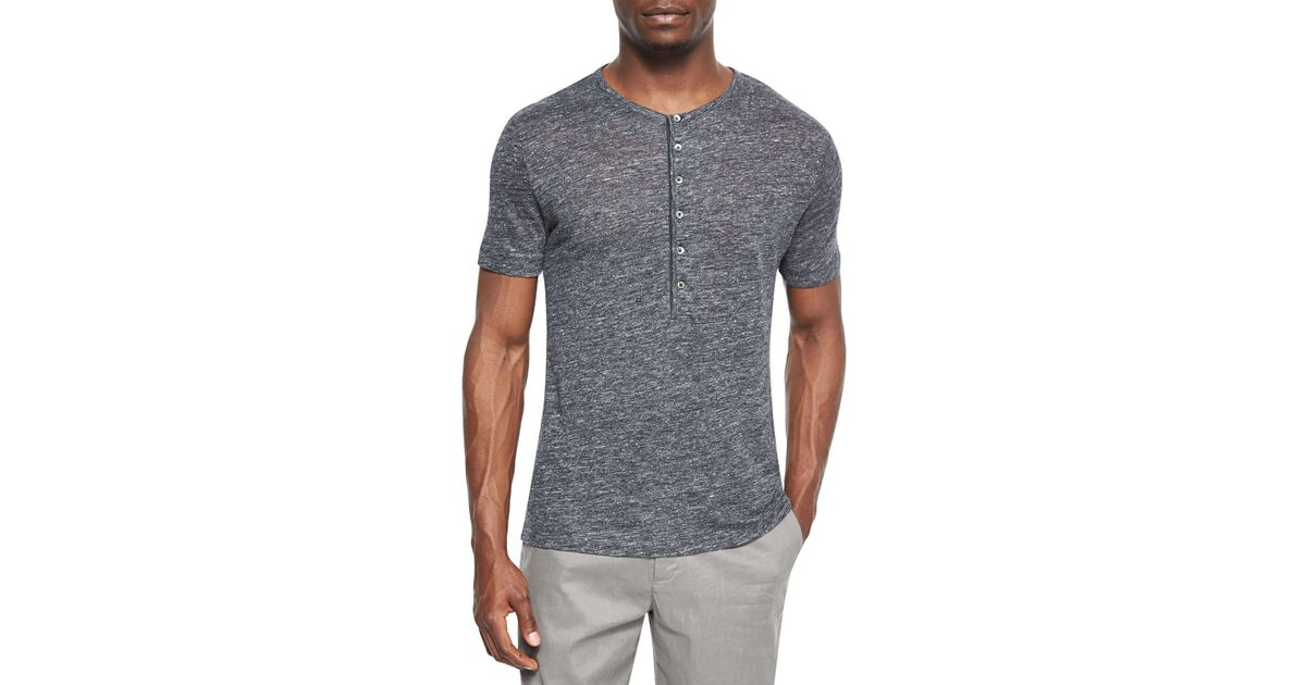 053c0f46 Theory Short-sleeve Henley Shirt in Gray for Men - Lyst