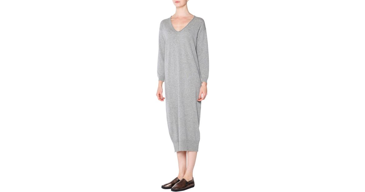 Tomas maier V-Neck Cashmere Sweater Dress in Gray | Lyst