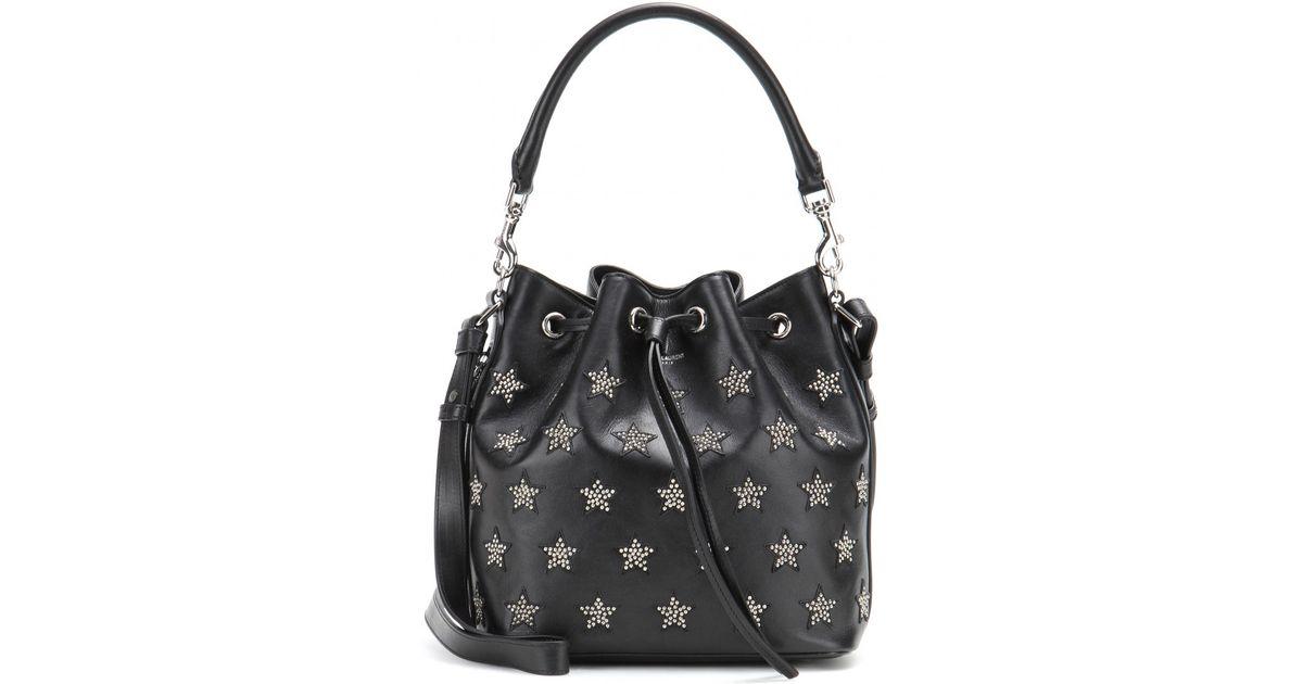 311300b19d Lyst - Saint Laurent Emmanuelle Small Embellished Leather Bucket Bag in  Black