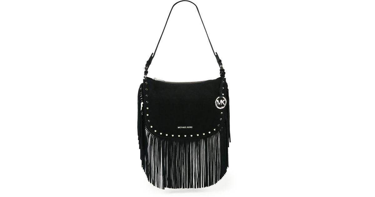 be364baafae7 MICHAEL Michael Kors Billy Suede Fringe Shoulder Bag in Black - Lyst