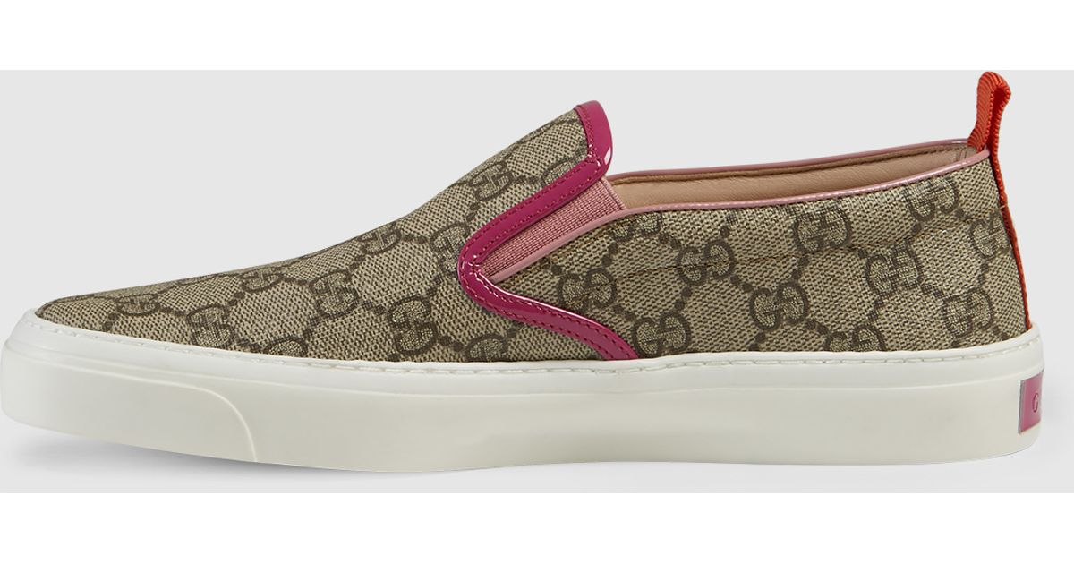 Gucci Gg Supreme Slip On Sneaker In Gray