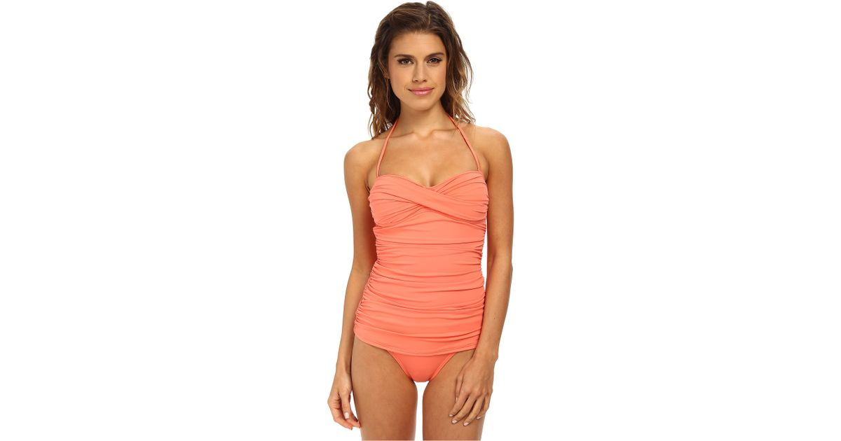 cb2ef34907ae45 Tommy Bahama Pearl Solids Shirred Twist Front Bandeau Cup One-Piece in Pink  - Lyst
