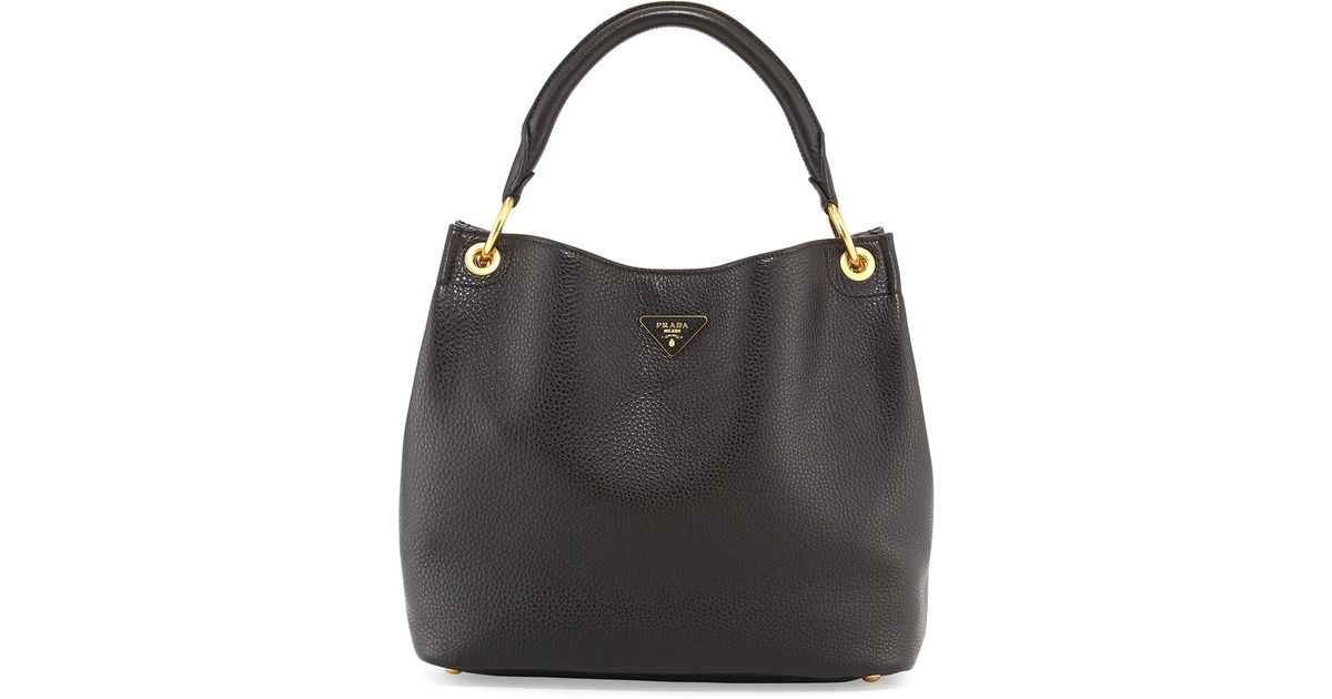 52e3f9236b2d Prada Vitello Daino Single-strap Hobo Bag in Black - Lyst