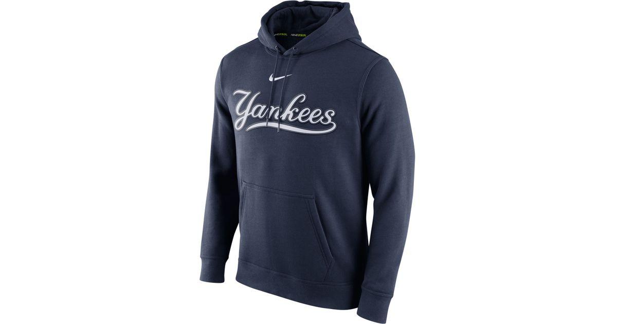 Nike Fleece Men S New York Yankees Club Hoodie In Navy