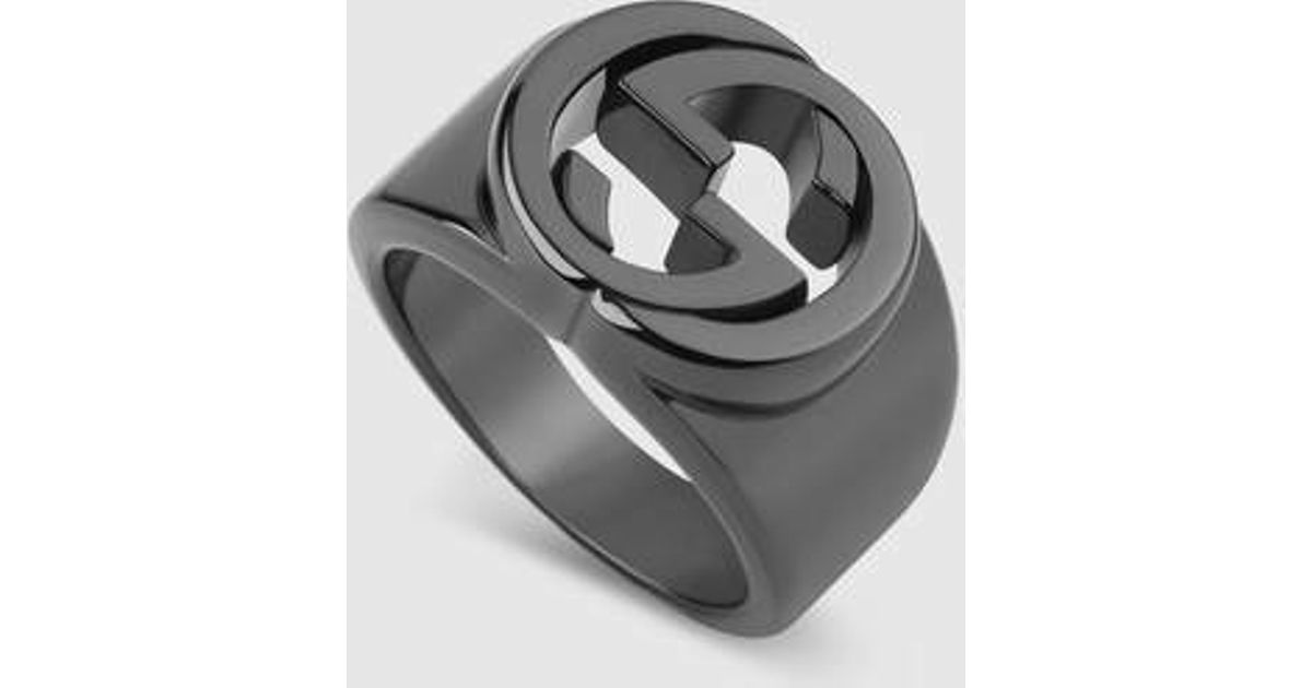 598e32543 lyst gucci silver ring with interlocking g in metallic for men .