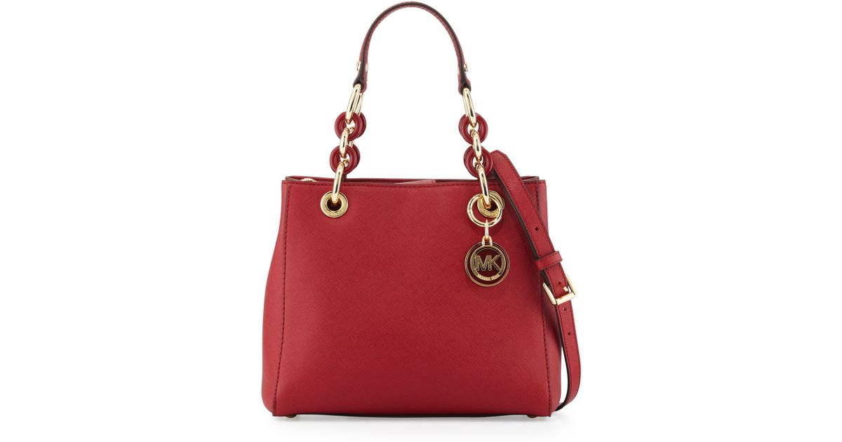 9e9b0967ac1f8a ... shopping lyst michael michael kors cynthia small saffiano satchel bag  in red 01aef 005c0