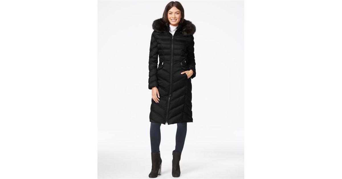35e8dfafef2 Lyst - Laundry by Shelli Segal Faux-fur-hood Long Down Puffer Coat in Black