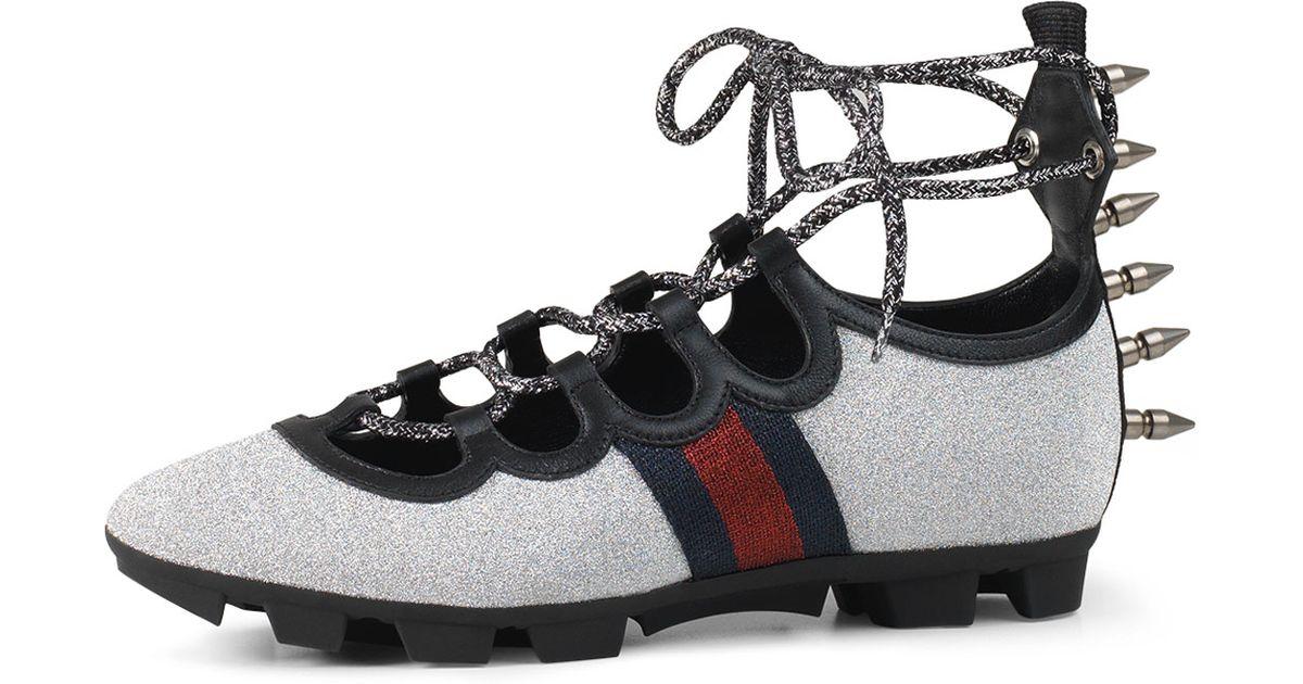 b86dd7955db Lyst - Gucci Titan Glitter Lace-up Spike Sneaker in Blue