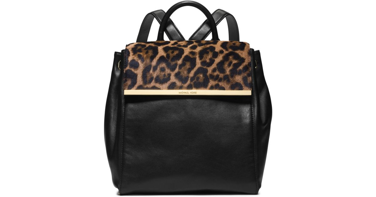 lyst michael kors lana leopard print hair calf and leather rh lyst com