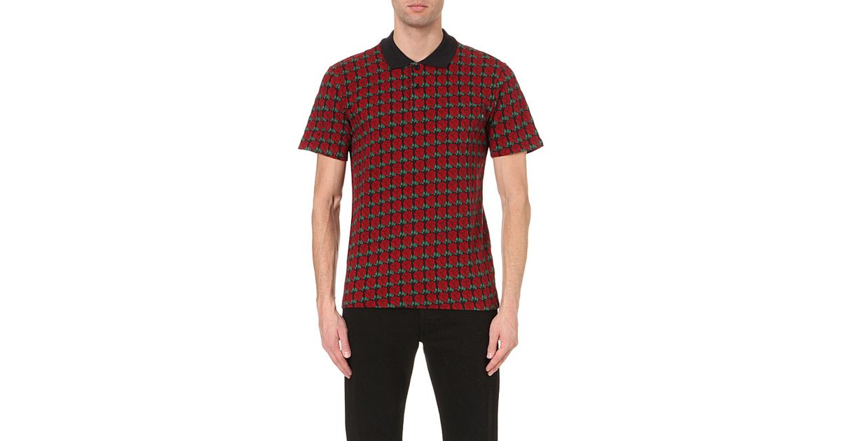 Lyst - Obey Rose-jaquard Cotton Polo Shirt in Blue for Men a5152f6a1