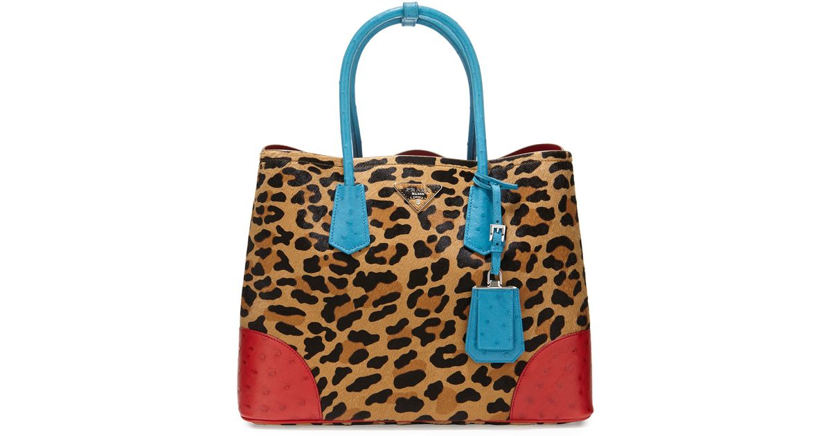 prada handbag for sale - Prada Calf Hair & Ostrich Medium Double Tote Bag in Multicolor | Lyst