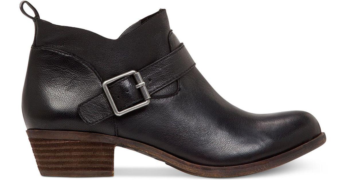 8f86b113ea0fd Lucky Brand Women's Boomer Low Heel Ankle Booties in Black - Lyst