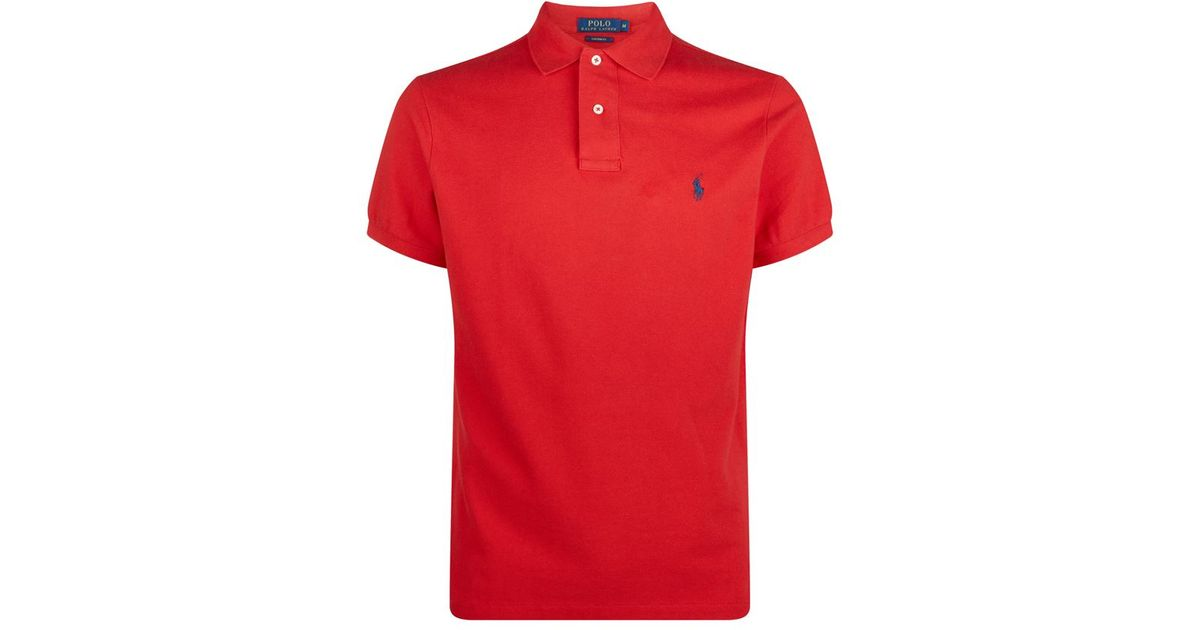 polo ralph lauren custom fit polo shirt in red for men lyst. Black Bedroom Furniture Sets. Home Design Ideas