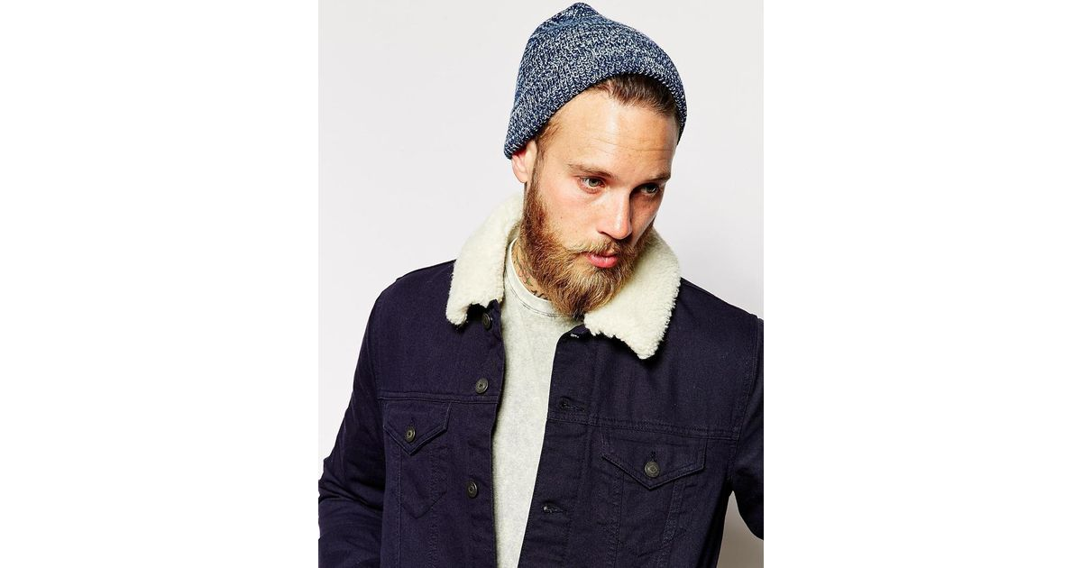 2bbf6383a99 Lyst - ASOS Fisherman Beanie Hat In Blue And White Twist in Blue for Men