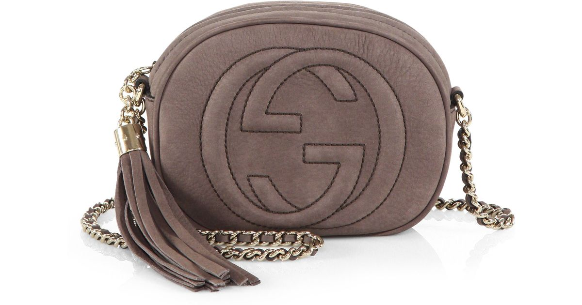 9b3f6ccec653 Lyst - Gucci Soho Nubuck Leather Mini Chain Bag in Gray