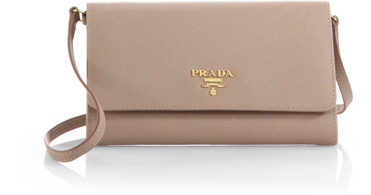 4a29106301a1c0 Prada Saffiano Mini Crossbody Bag in Natural - Lyst
