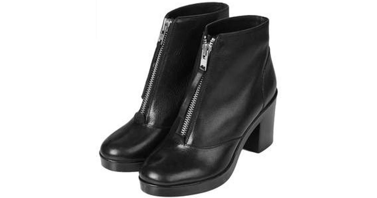 TOPSHOP Magic Front Zip Boots in Black