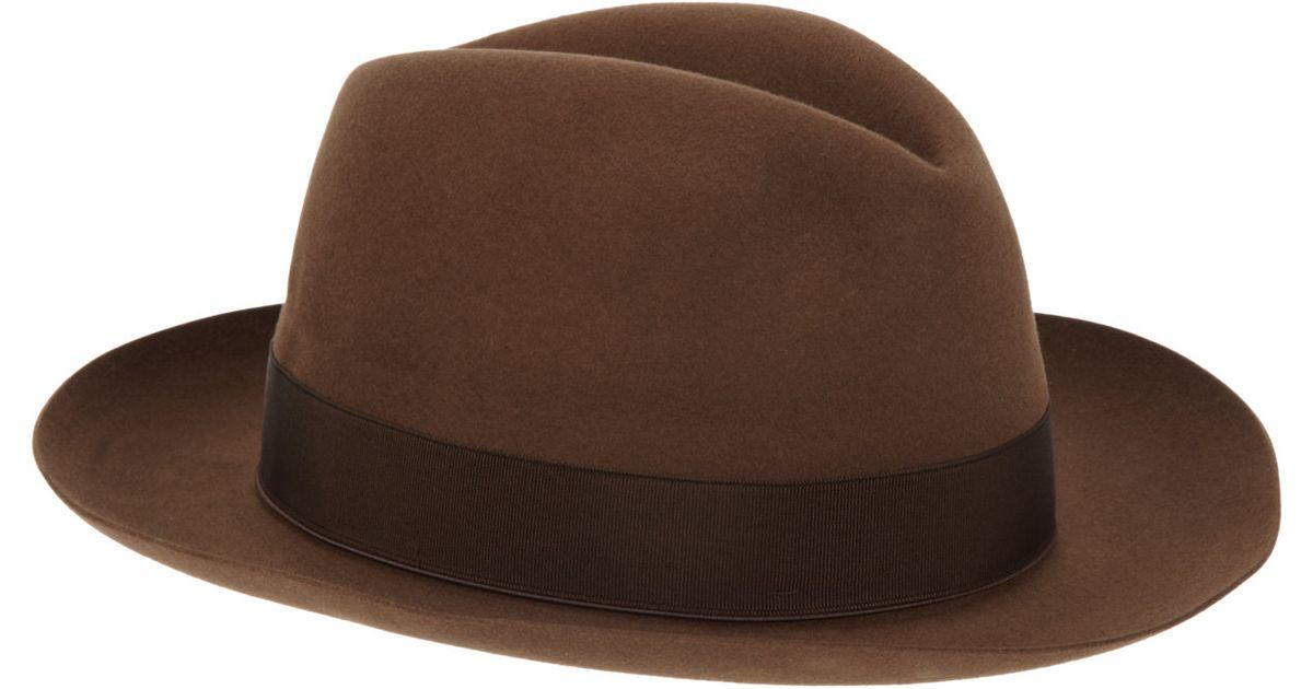 Lyst - Borsalino Beaver Fur Felt Fedora in Brown for Men 12a28f2c247