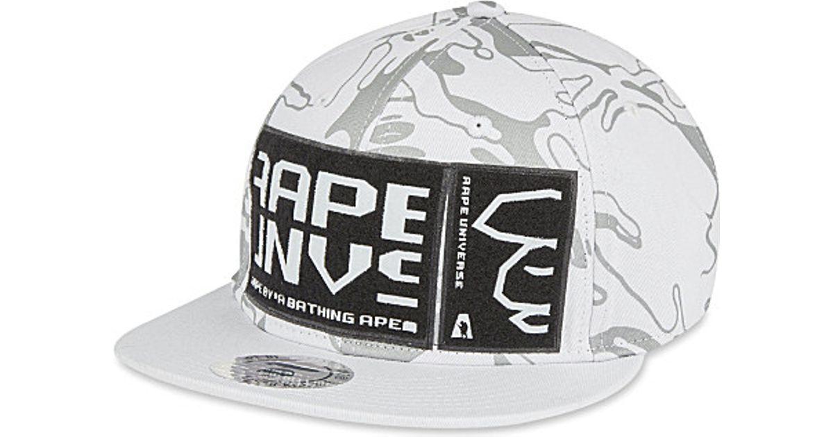 Aape Camo Snapback Cotton Cap in White - Lyst e1ff57e4f18