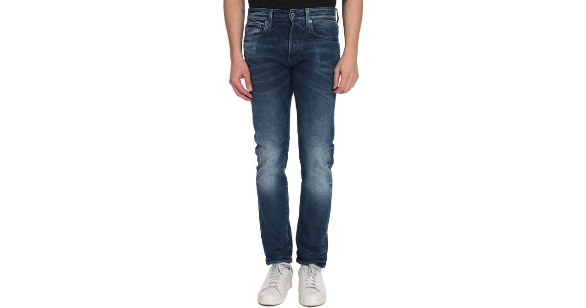 g star raw faded tapered blue jeans 3301 in blue for men. Black Bedroom Furniture Sets. Home Design Ideas