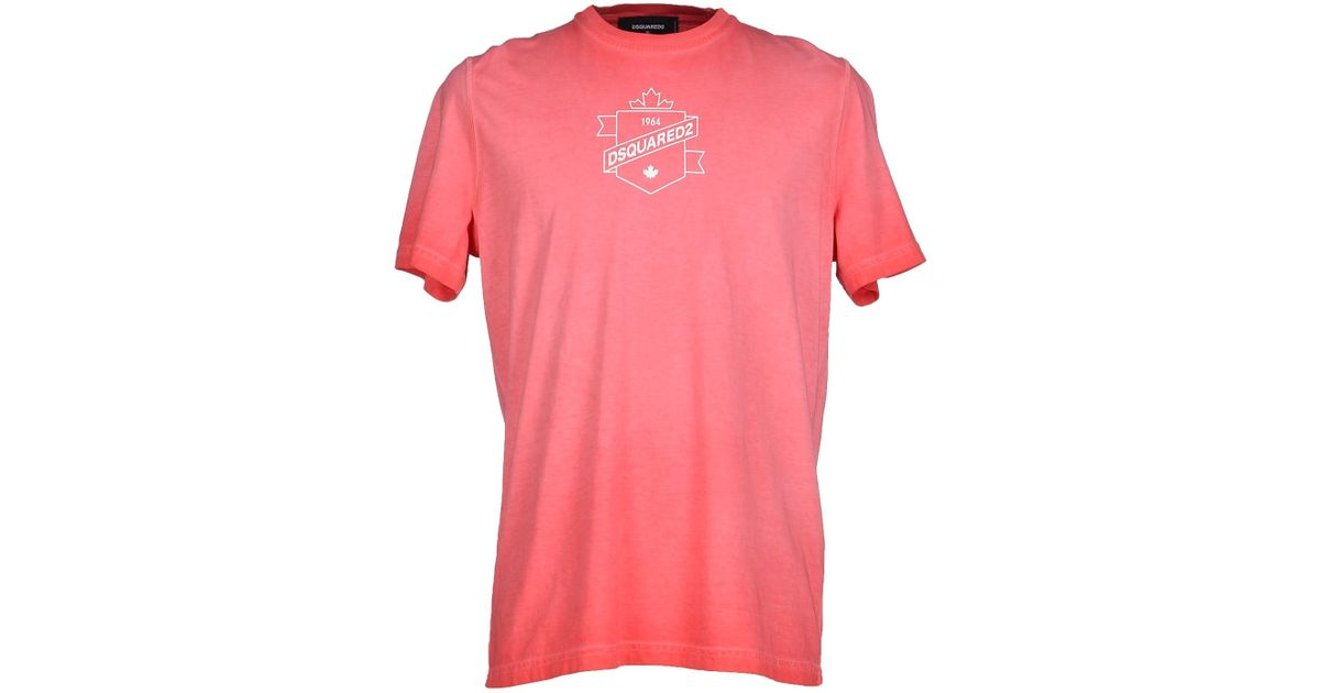 Dsquared T Shirt In Pink For Men Coral Lyst