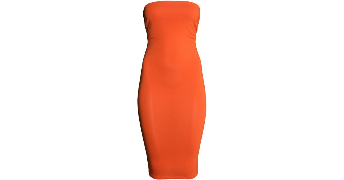 74dc2bab1b7 Lyst - H M Tube Dress in Orange