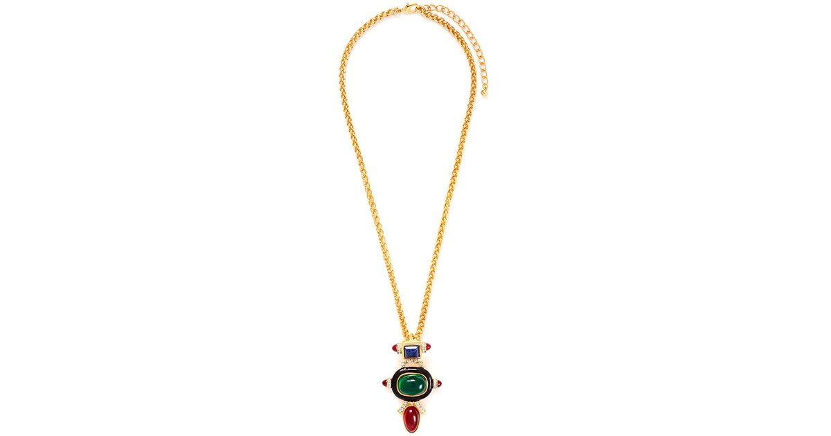 Kenneth Jay Lane Multi Color Deco Pendant Necklace Multi 1TeDOsg2ue